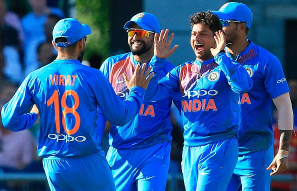 Kuldeep Yadav celebrates his maiden 5-fer in T20I cricket | Getty