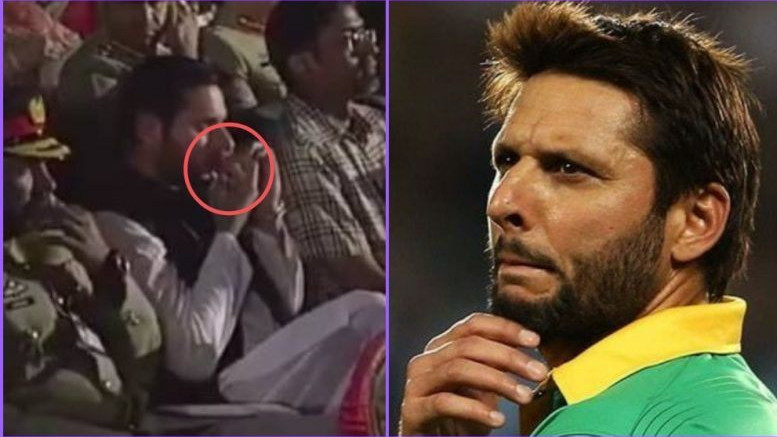 WATCH: Shahid Afridi breaks silence over 'tobacco' chewing allegations against him during national event
