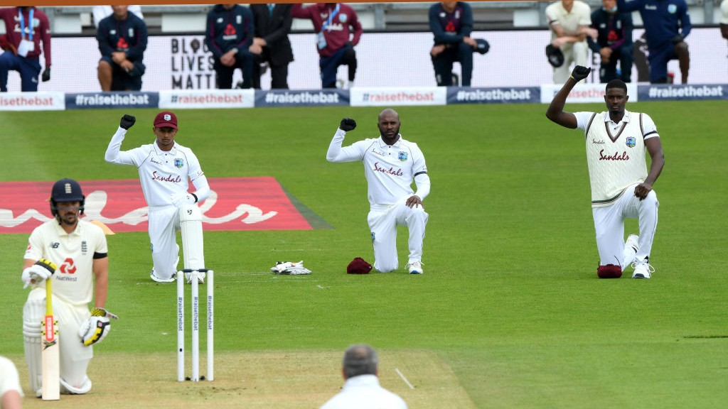 ENG v WI 2020: WATCH - Players go down on knee in support of 'Black Lives Matter' movement