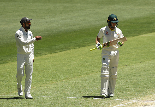 Virat was seen having a go at Paine in Perth | Getty