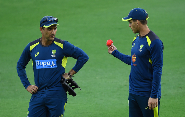Justin Langer with skipper Tim Paine | Getty