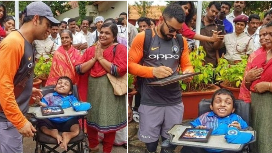 IND v WI 2018: WATCH- MS Dhoni and Virat Kohli meet a handicapped fan before fifth ODI