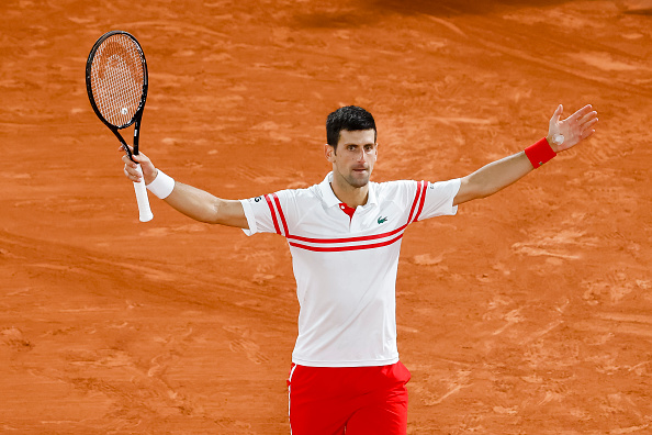 Novak Djokovic celebrates after winning the match | GETTY