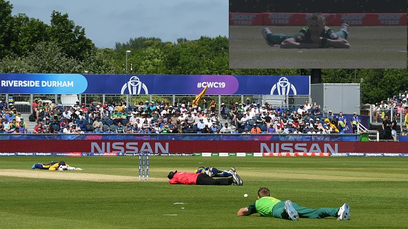 CWC 2019: WATCH - Players and umpires forced to hit the ground as bees interrupt play