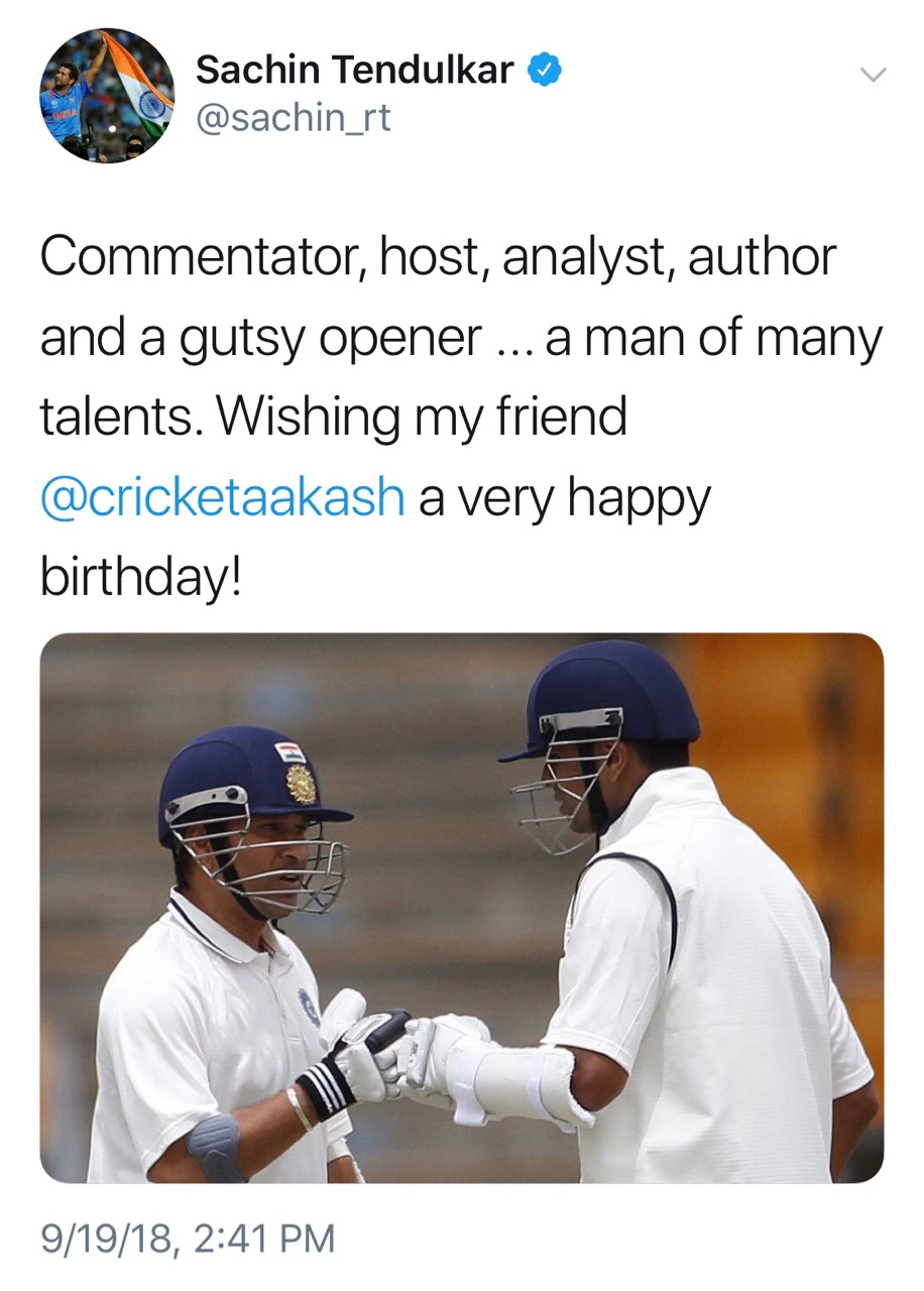 Sachin wishes Aakash Chopra on his birthday with a pic of Rahul Dravid on Twitter | Sachin Tendulkar Twitter