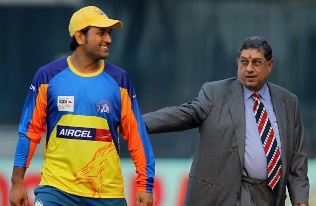MS Dhoni and N Srinivasan