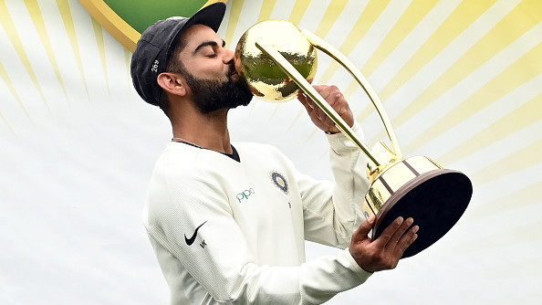 Virat Kohli after winning the Border-Gavaskar Trophy on Australia soil | Getty