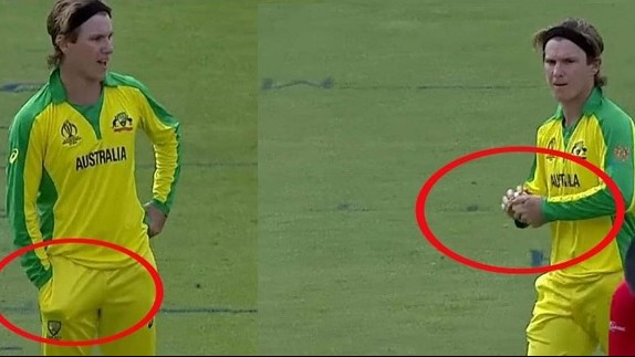 CWC 2019: WATCH – Sandpapergate revisited as Adam Zampa pockets something after using it on ball