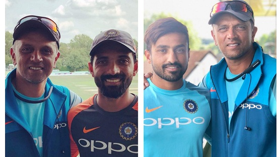 Ajinkya Rahane and Karun Nair thank coach Rahul Dravid for his guidance