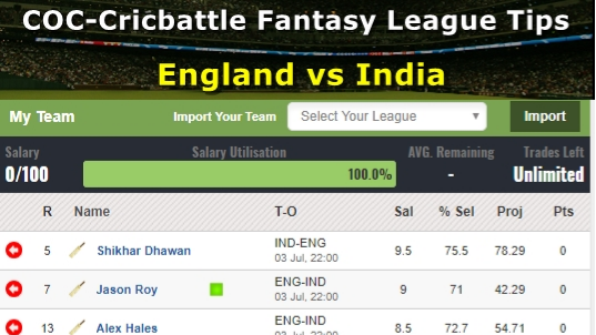 Fantasy Tips - England vs India on July 3