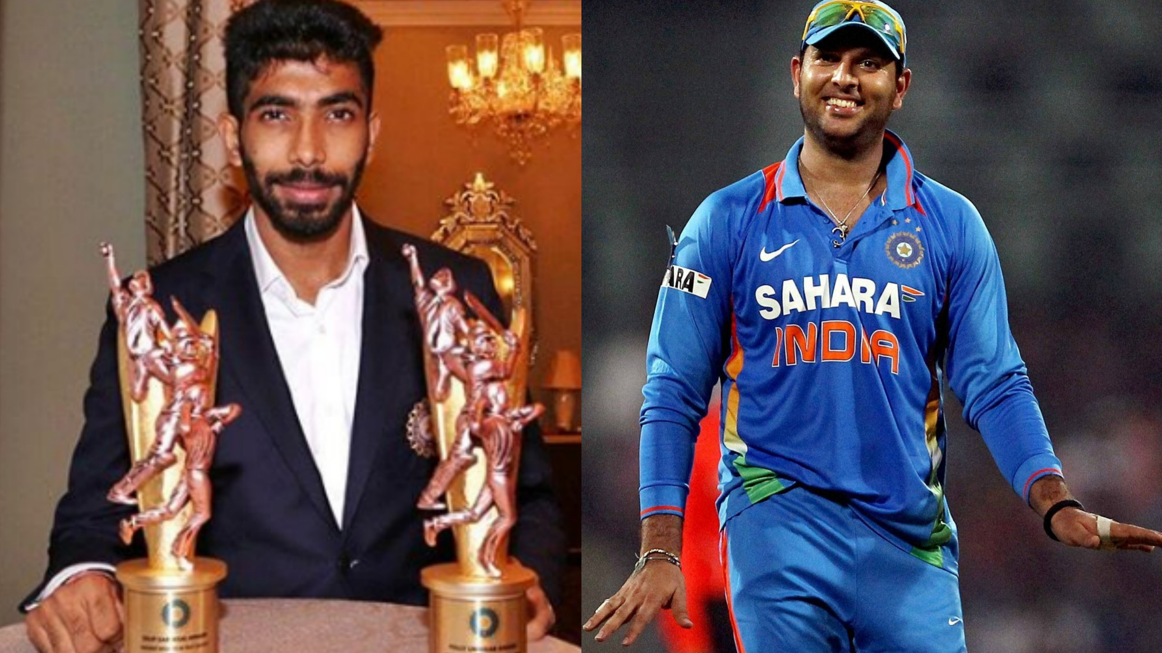 Yuvraj Singh asks Jasprit Bumrah to smile a bit more as he poses with his prestigious awards