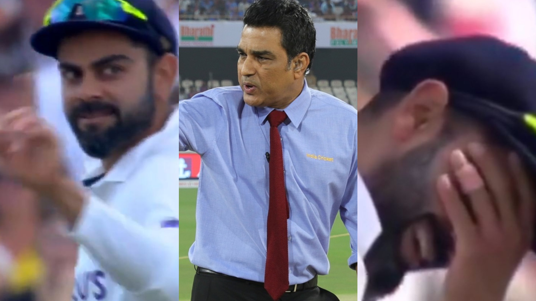 ENG v IND 2021: WATCH- Manjrekar's opposite reactions to Virat Kohli's expressions to two reviews