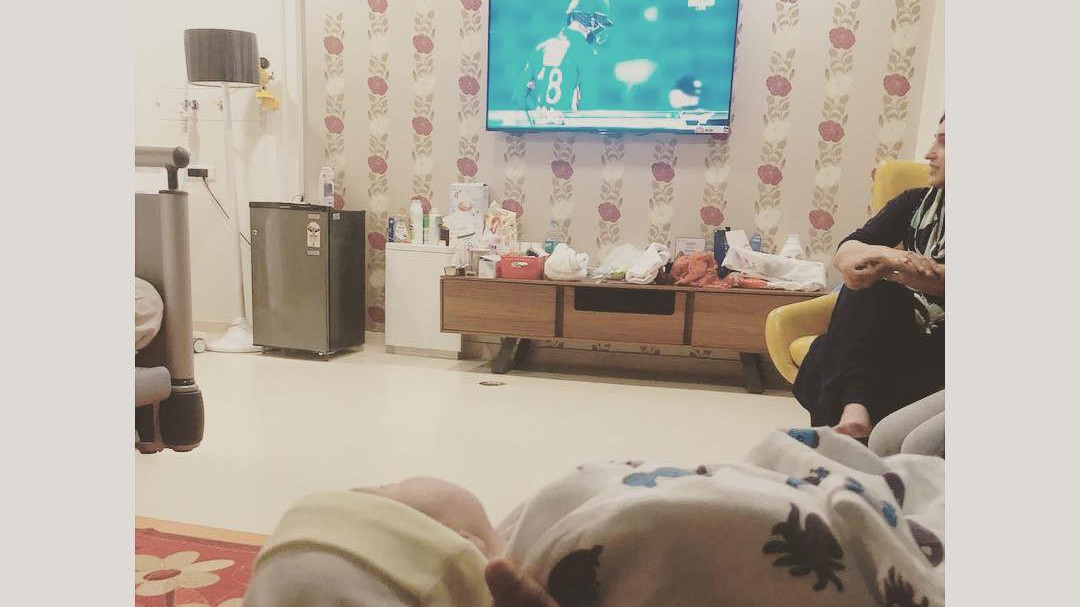 Sania Mirza shares picture of her new born baby watching father batting