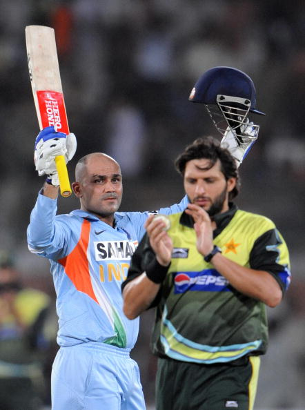 Virender Sehwag and Shahid Afridi | Getty