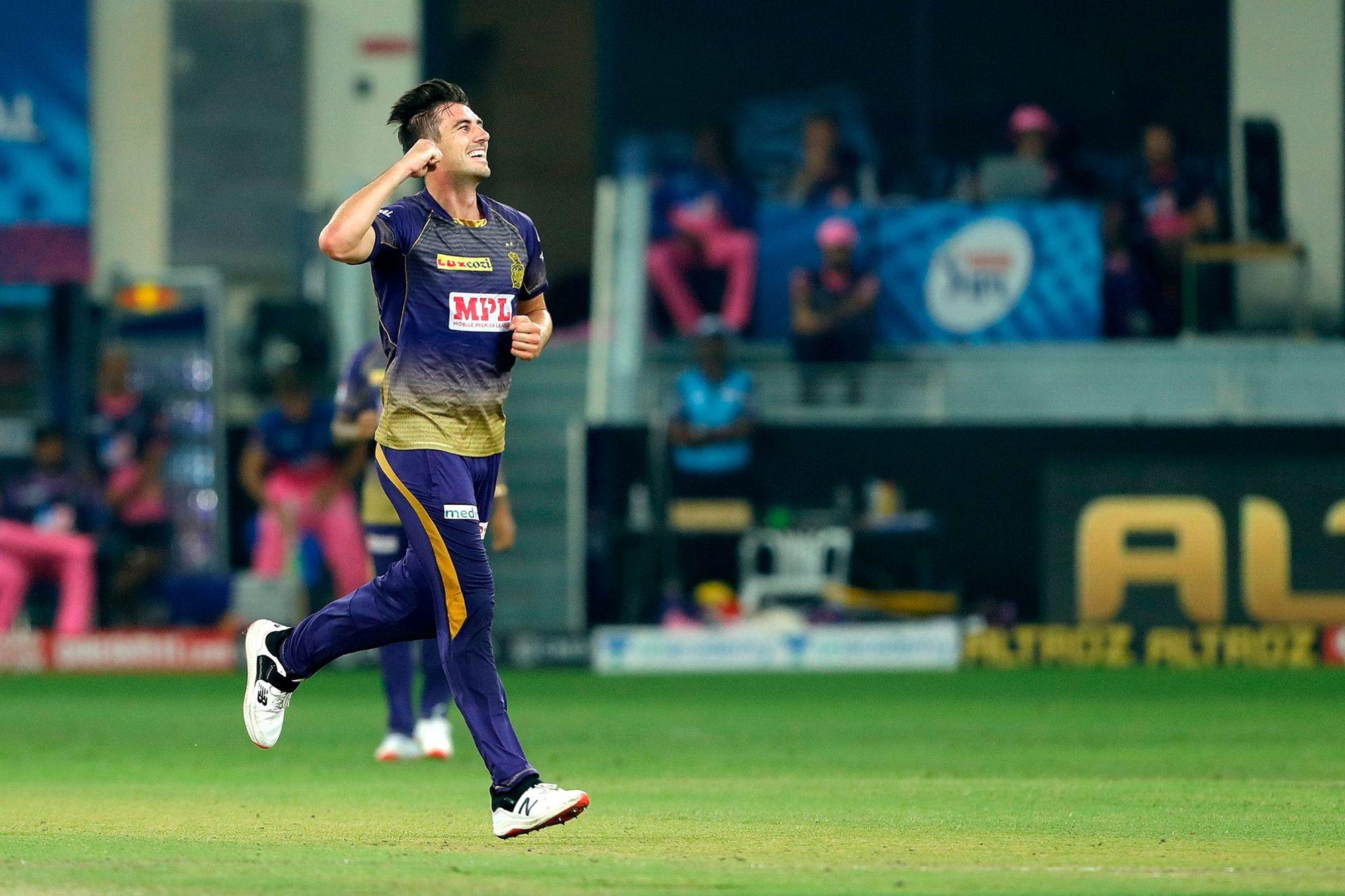 Man of the Match Pat Cummins took 4 wickets against RR in Dubai (Photo - BCCI / IPL)