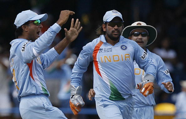 Sourav Ganguly, MS Dhoni and Virender Sehwag during World Cup 2007 | GETTY
