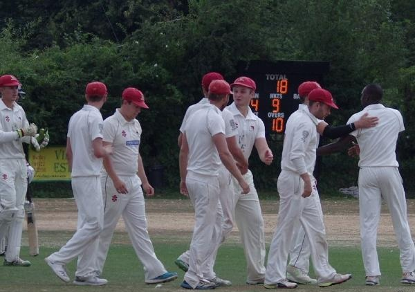 Bexley CC celebrates bowling out Beckenham CC for 18 runs | Twitter