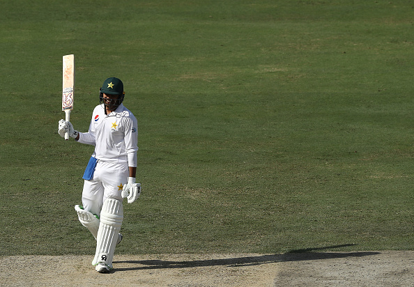Haris Sohail celebrates his maiden Test ton in Dubai | Getty Images