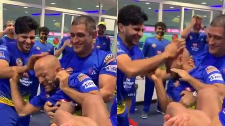 IPL 2020: WATCH - Monu Singh gets plastered with cake while MS Dhoni and Faf du Plessis hold him