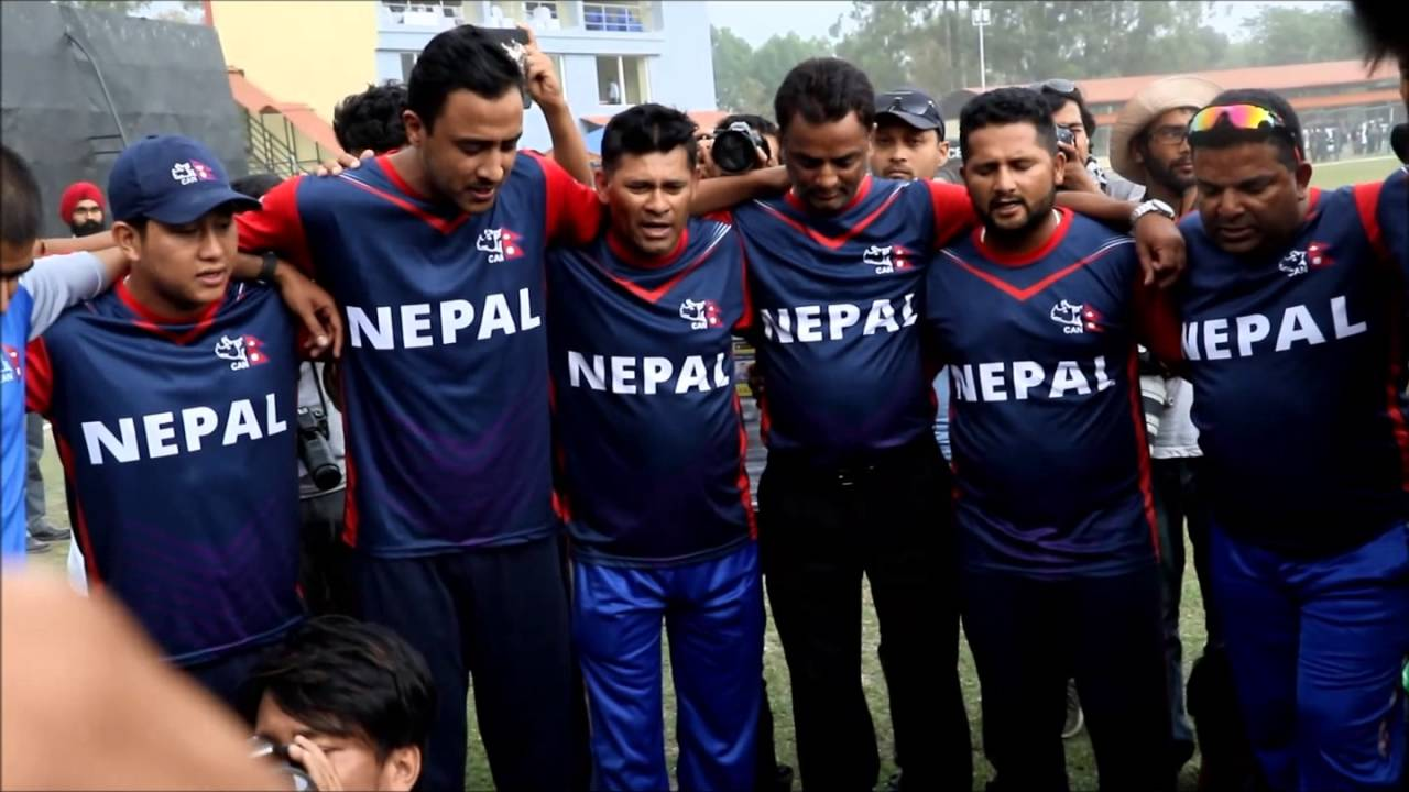 Paras Khadka(third from left) with his team. (AFP)