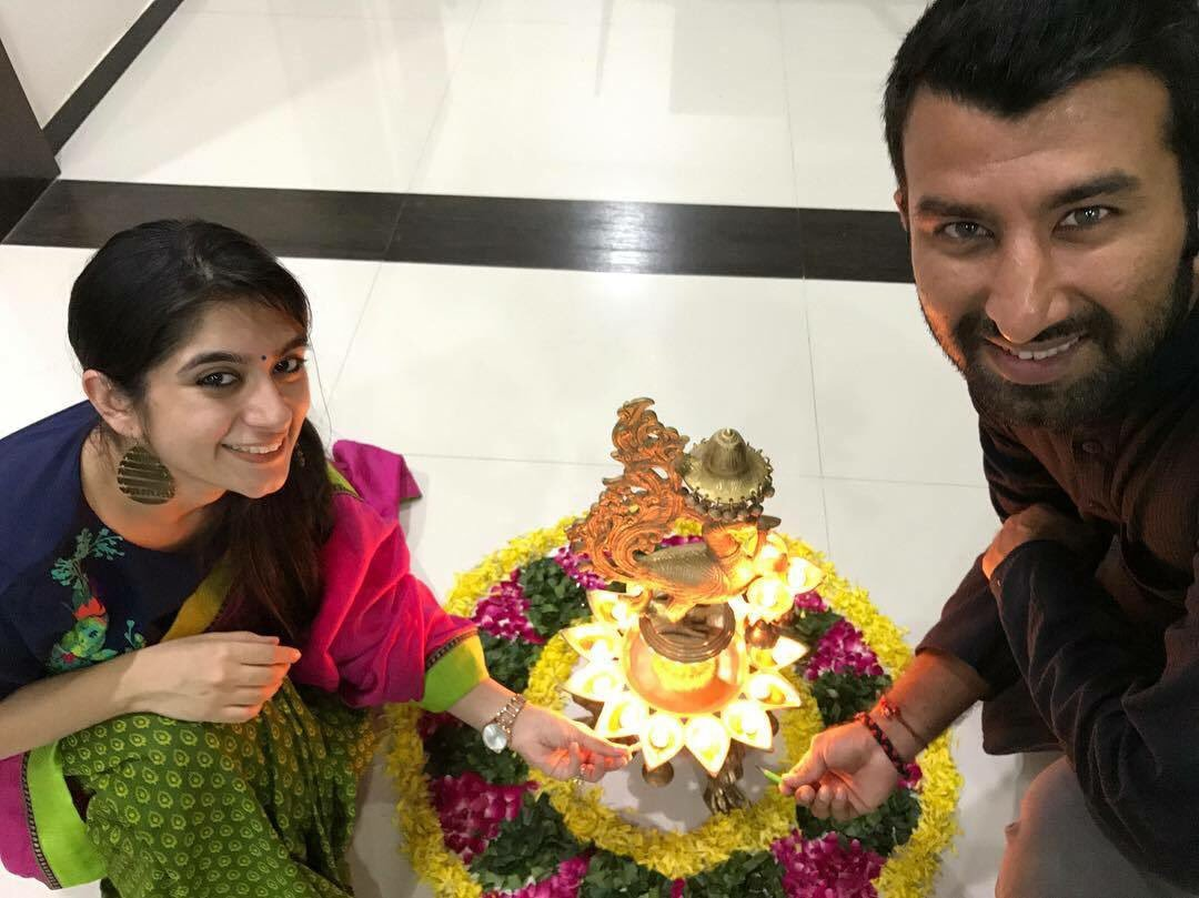 Cheteshwar Pujara with his wife. | Twitter