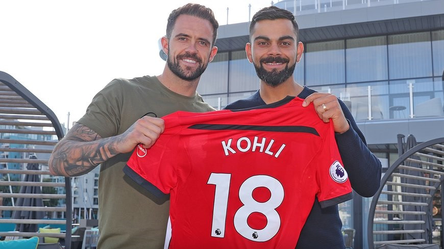 Virat Kohli receives Southampton football club jersey after his visit to Saint Mary's Stadium