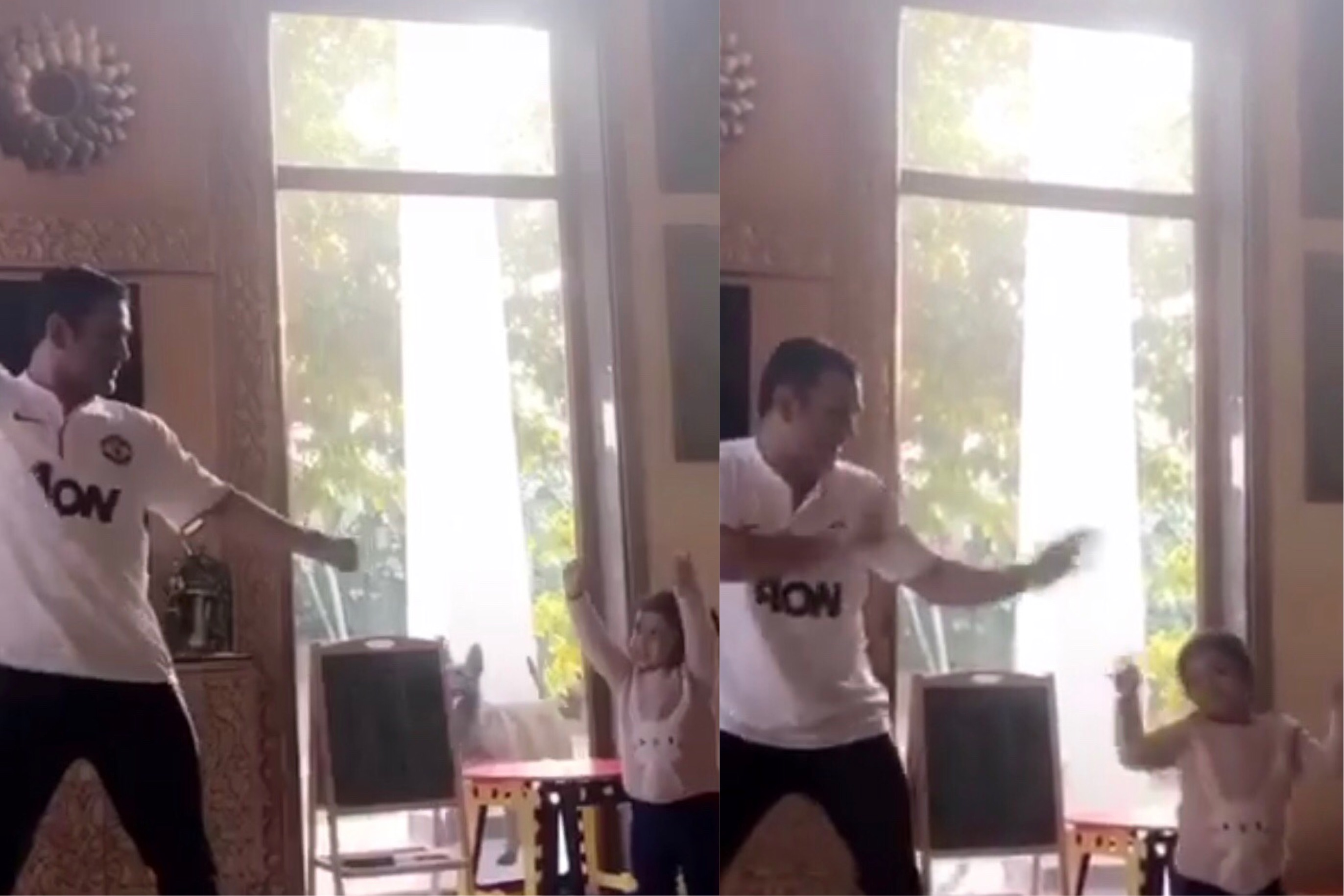 MS Dhoni dances with his daughter Ziva | Screengrab