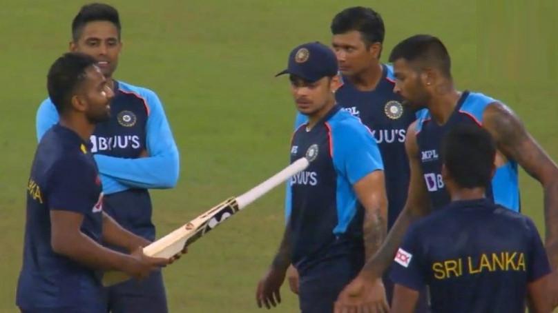 SL v IND 2021: WATCH - Chamika Karunaratne honored to get a bat from idol Hardik Pandya