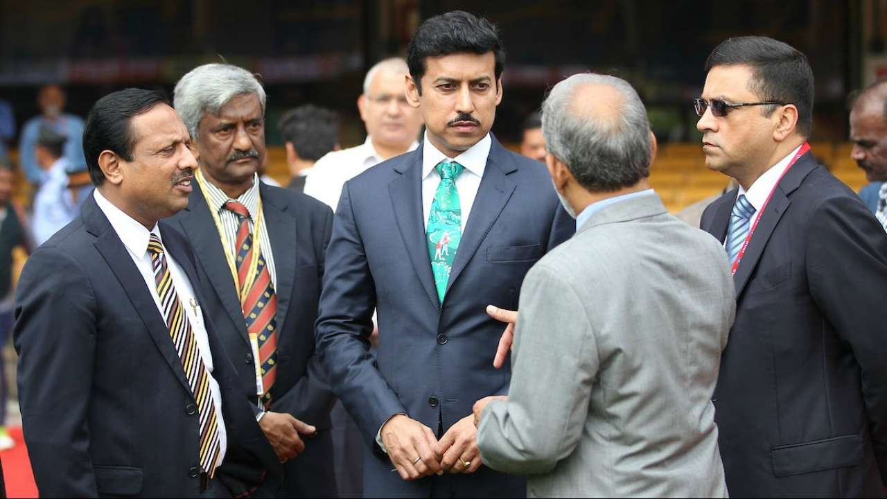 IND v AFG 2018: Watch -Indian Sports Minister Rajyavardhan Singh Rathore greets the players in Bangalore