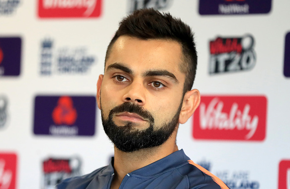 Virat Kohli speaks to the media during a press conference at Old Trafford | Getty