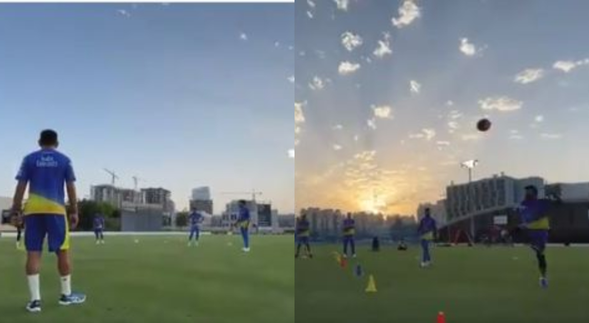 MS Dhoni and his teammates indulged in a football drill | Twitter