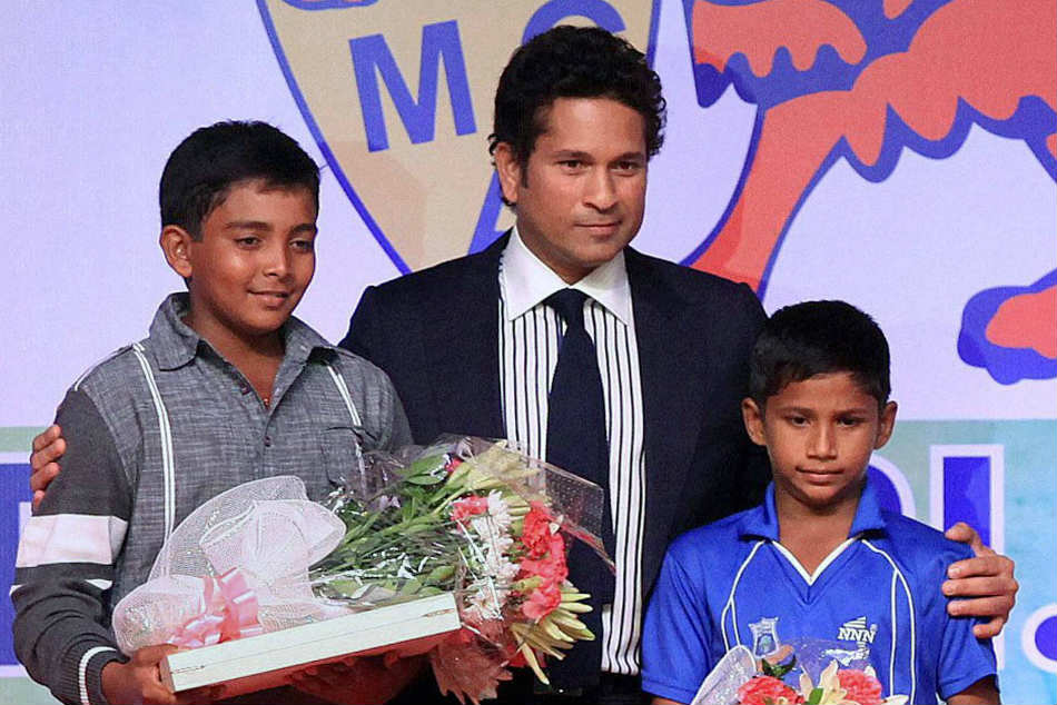 A file picture of young Prithvi Shaw with Sachin Tendulkar