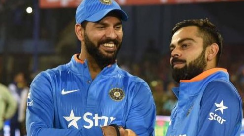 WATCH: Virat Kohli advices Yuvraj Singh to control his laughter during an ad shoot