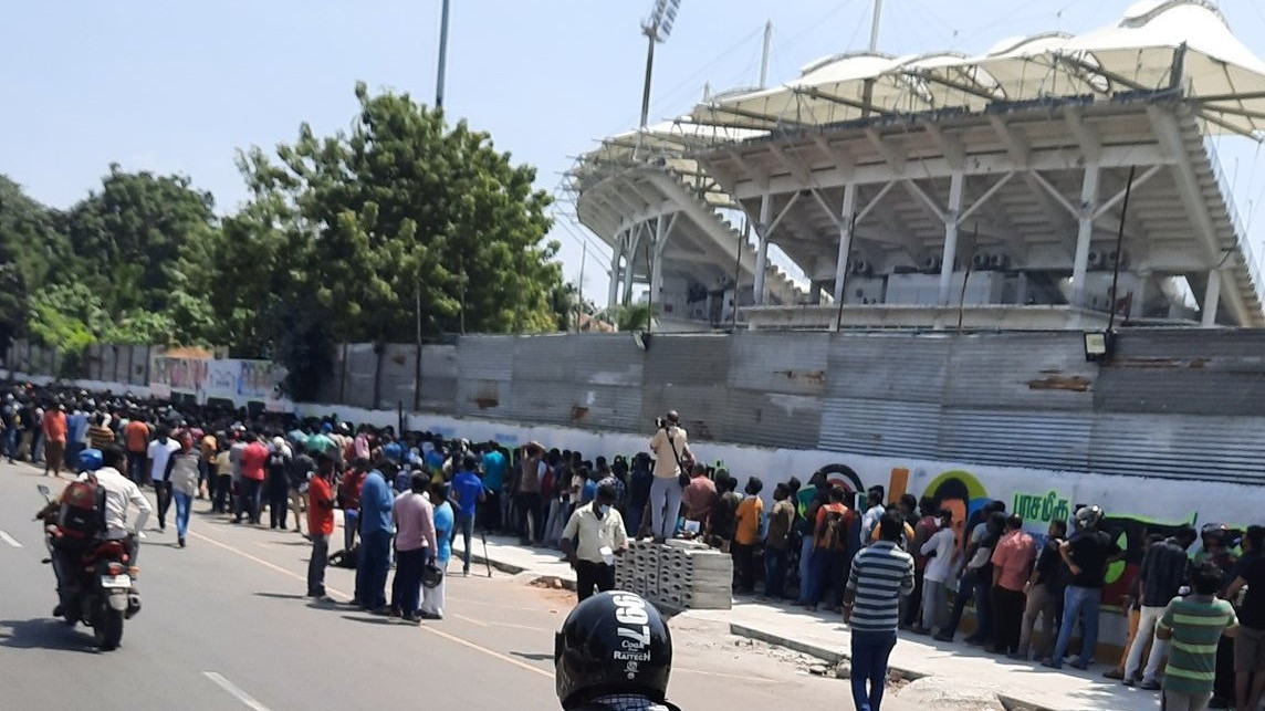 IND v ENG 2021: Crowds break social distancing norms while collecting tickets for second Test in Chennai