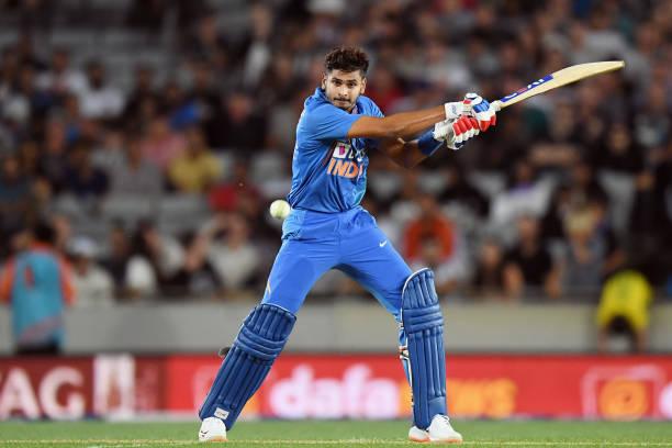 Man of the Match Shreyas Iyer scored 58* runs off 29 balls in Auckland T20I (photo - getty)