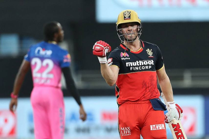 AB de Villiers played an amazing match winning knock of 55* off 22 balls against RR in Dubai. (Photo - BCCI / IPL)