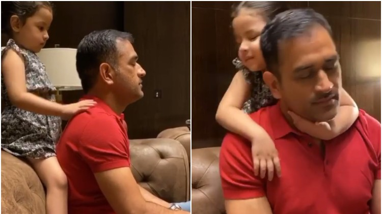WATCH: Ziva gives massage to her daddy MS Dhoni after a hectic day