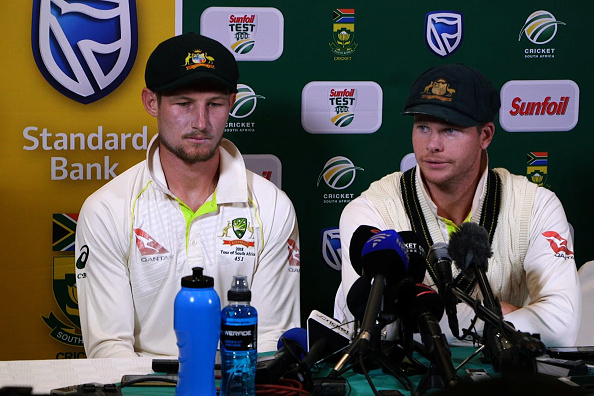 Cameron Bancroft and Steve Smith facing the press after controversy. | GETTY
