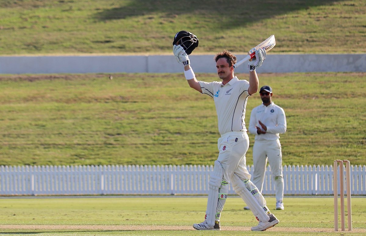 Hamish Rutherford remained unbeaten on 106* | BlackCaps Twitter