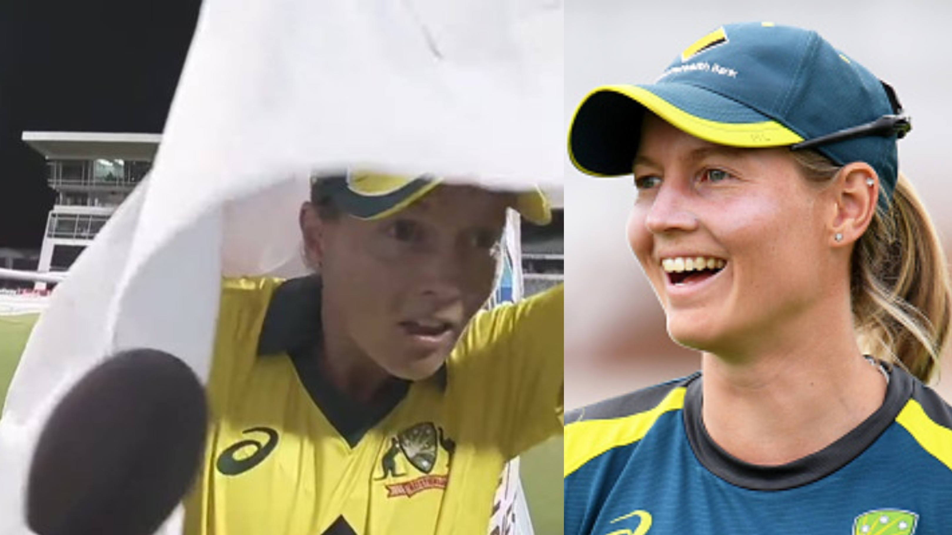 Watch - Australia's Meg Lanning hilariously gets hit on the head by Sponsors' banner