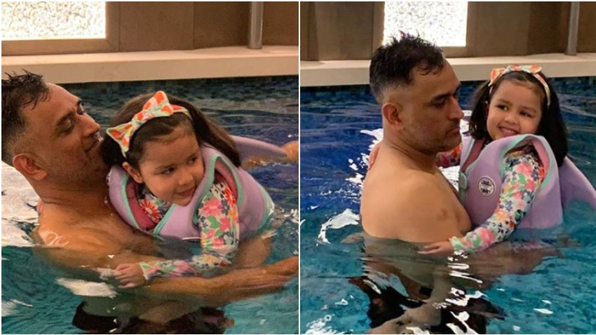 Ziva Dhoni turns into baby shark to jump in the pool with father MS Dhoni and Hardik Pandya