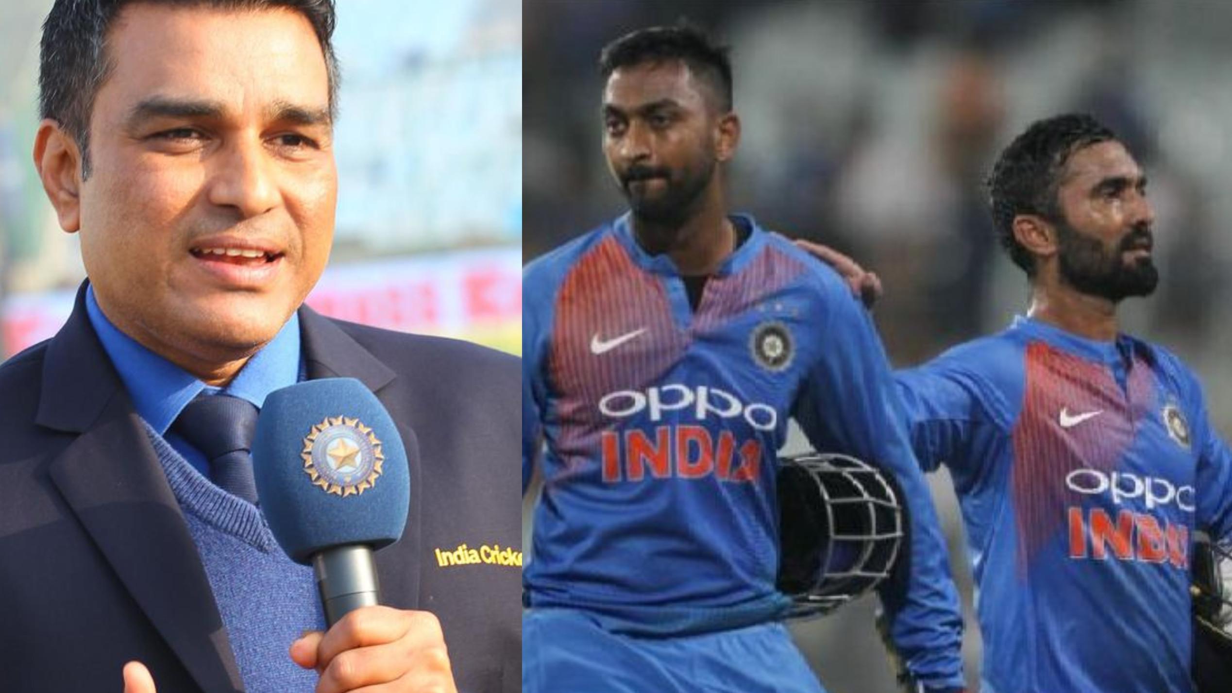 NZ v IND 2019 : संजय मांजरेकर ने कहा कि दिनेश कार्तिक की वजह से क्रुणाल पांड्या स्ट्राइक नहीं ले पाए