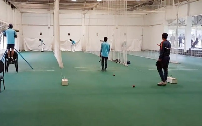Team India practicing in the indoor nets in Newlands Stadium in Cape Town