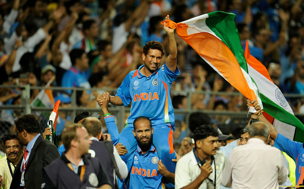 Tendulkar was lifted on the shoulders of his teammates after winning the 2011 World Cup | Getty