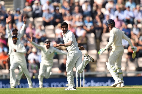 Jasprit Bumrah celebrates after bowling out England's Keaton Jennings | GETTY