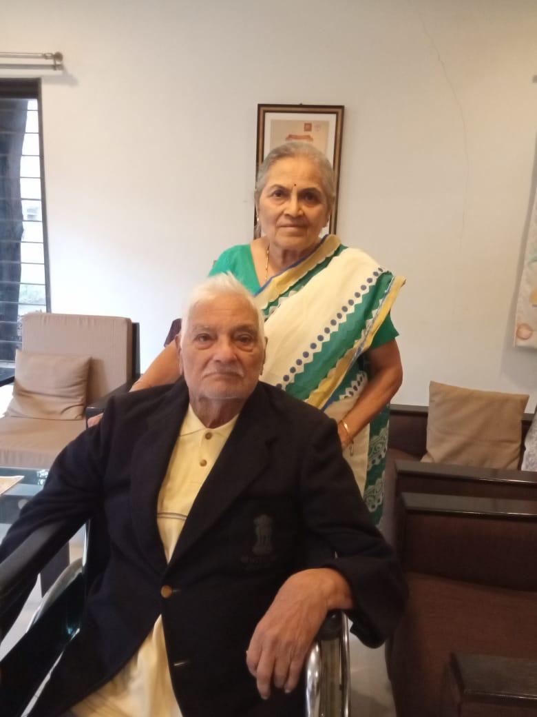 Sadashiv Raoji Patil with his wife at his residence in Kolhapur | The Hindu