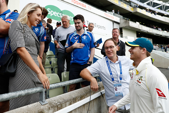 Smith with wife Willis during the first Test of Ashes 2019 | Getty