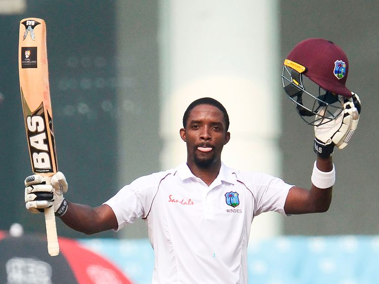 Shamarh Brooks hit his maiden Test century | CWI Twitter