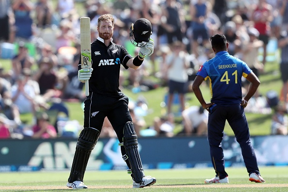 Guptill celebrates his century at the Bay Oval | Getty Images