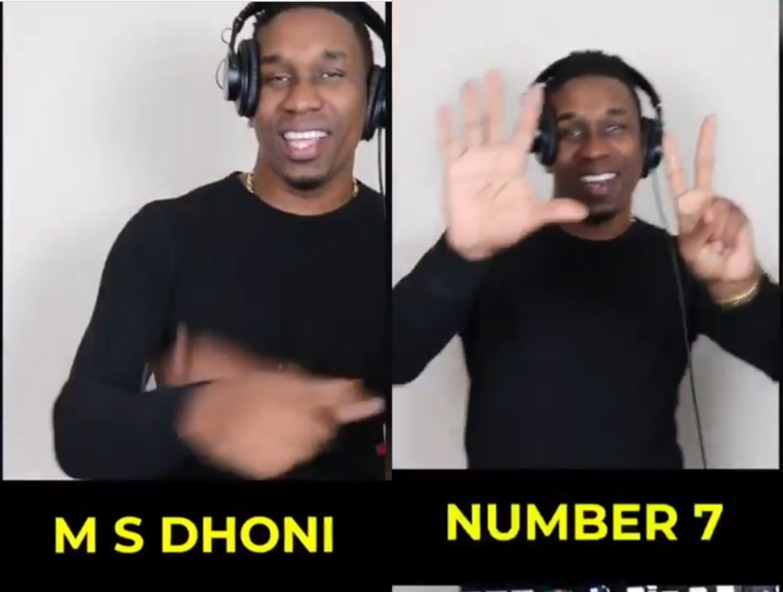 Screencaps from Dwayne Bravo's song on MS Dhoni